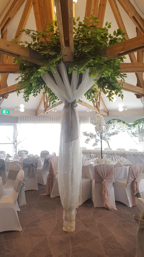 Wedding reception dressing. Pillar tree centrepiece's available for hire- Northamptonshire/Hampshire.