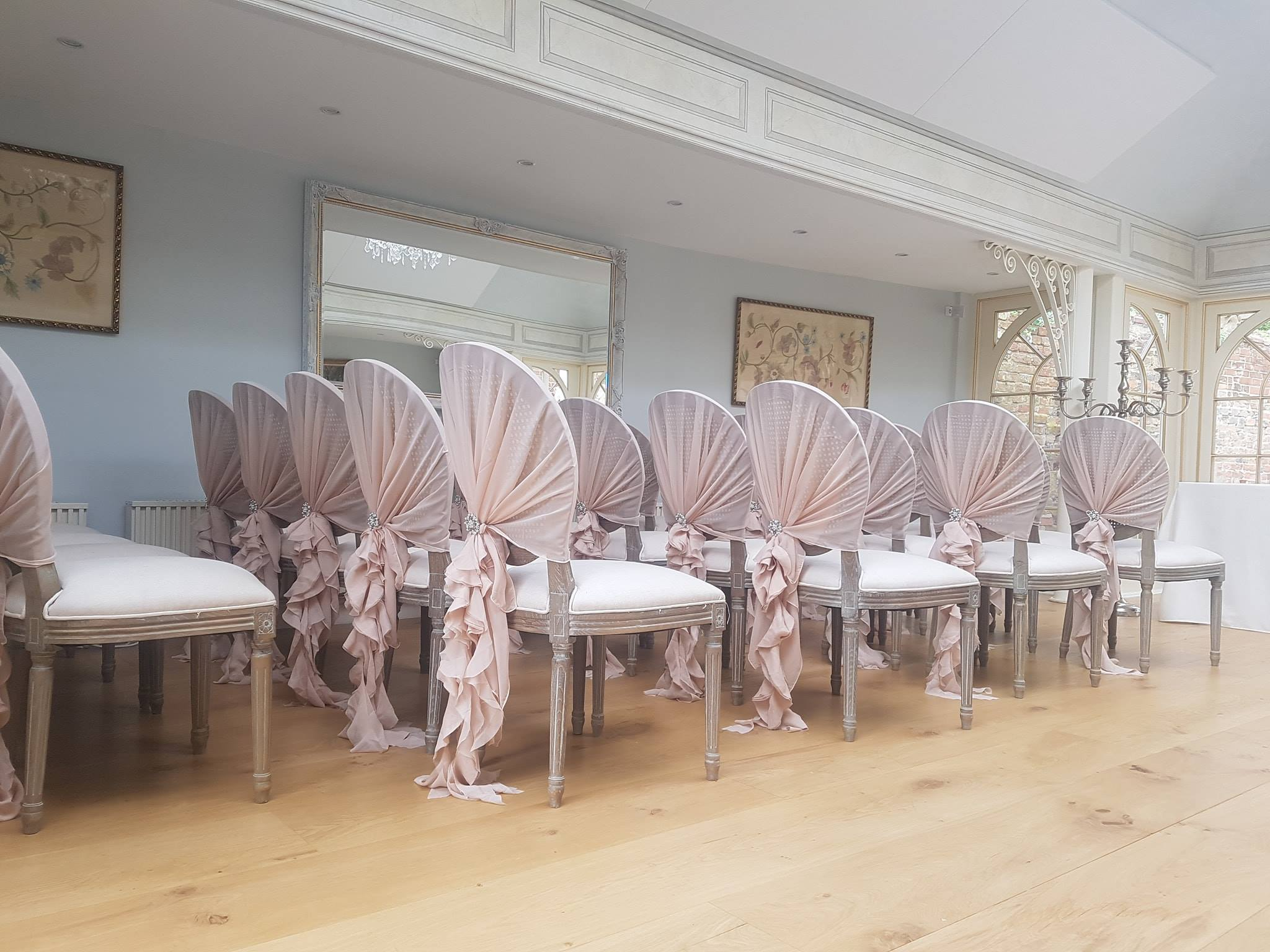 Beautiful ruffle chair covers. Northamptonshire and Hampshire, wedding decor.
